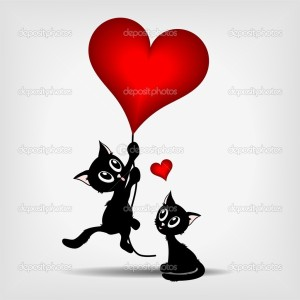 two black kittens, beautiful black kitty hanging on red heart - ballon on gray background - vector illustration