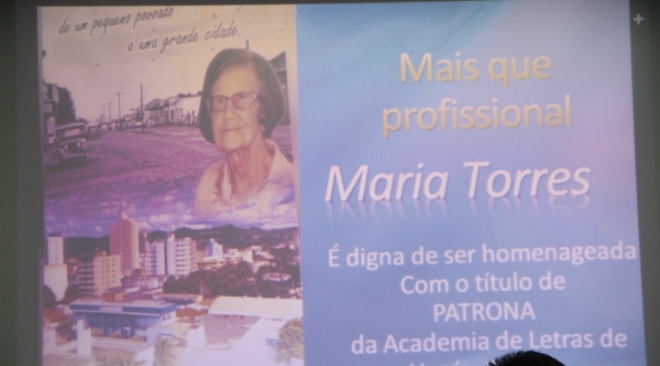 Maria Torres Gonçalves - Patronesse oficial da Academia de Letras de Unaí e Região